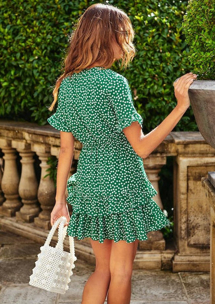 Women Boho Floral V neck Short Sleeve Sexy Mini Dress Woman Summer Beach Party Holiday Ladies Sundress Female Vestidos