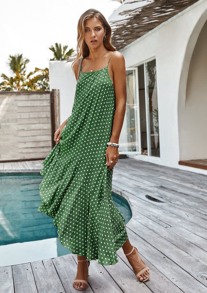 women-polkadot-maxi-dress-green-causual