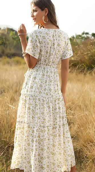 August Lemonade Floral Maxi Dress White