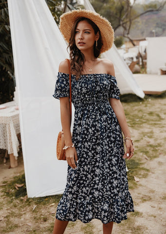 Bold Blooms Maxi Dress Navy