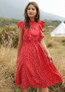 August Lemonade Love Song Floral Print Maxi Dress Red