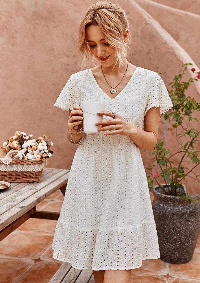 white-mini-sundress-hallow-out