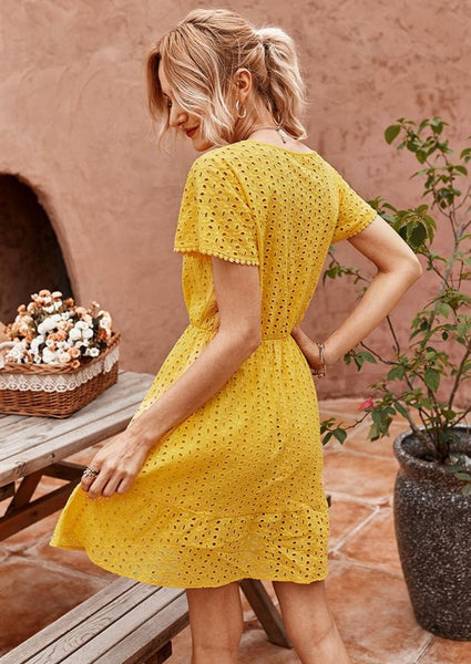 yellow-mini-sundress-hallow-out-women-fashion