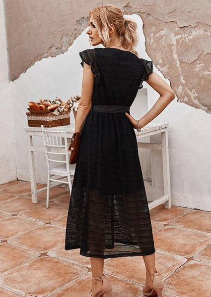 women-black-maxi-wrap-dress-summer-outfit