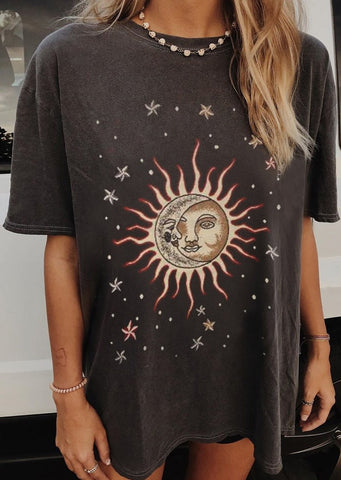Casual fashion short sleeve round neck printed loose top