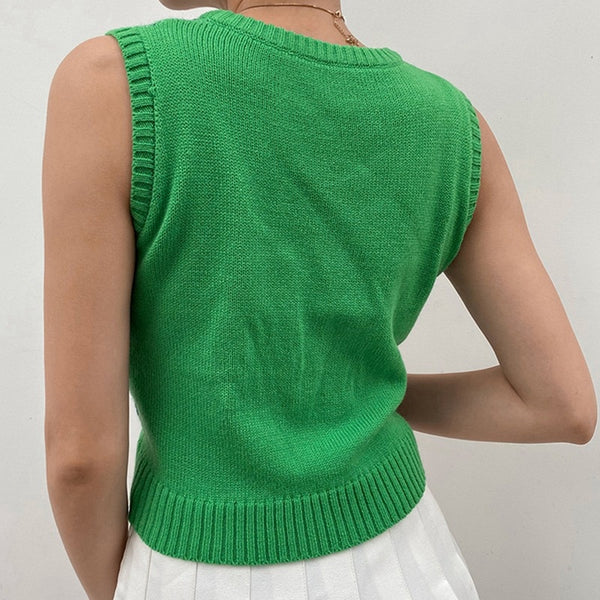 Cute Vintage Sweater Vest Green