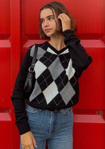 Autumn Black V Neck Vintage Knit Sweater Casual Argyle Plaid Jumper