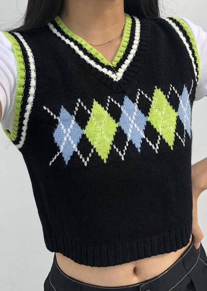 Cute Vintage Sweater Vest Lime