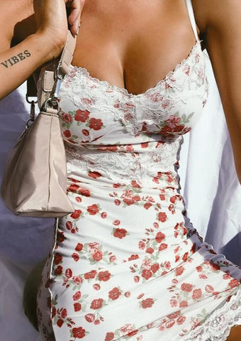 Floral Print Holiday Lace Sexy Slip Dress Summer Fashion Outfits Backless Sleeveless Sundress Bodycon Vestidos