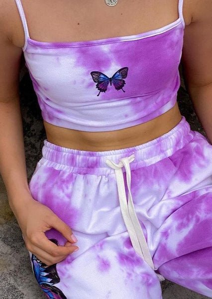 Butterfly Printed Crop Top
