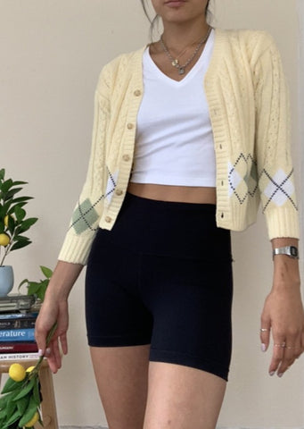 Argyle Cropped Cardigan Women August Lemonade