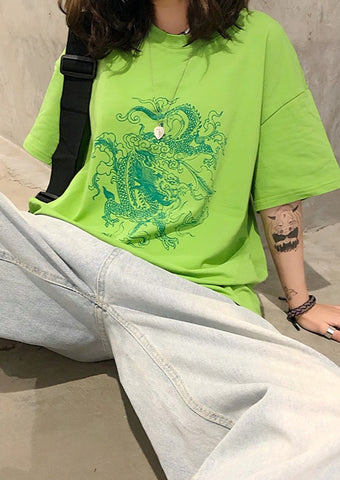 Dragon Printed Oversized Graphic Tee