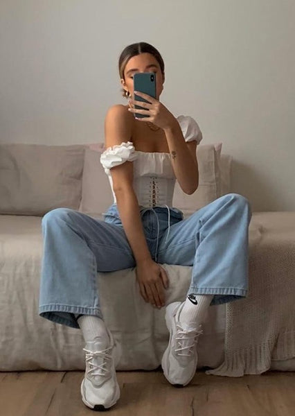 Off Shoulder Fashion Lace Up Shirts Blouse Blouse Women White Crop Tops Blouses Clothes Vintage Tie Front Tops