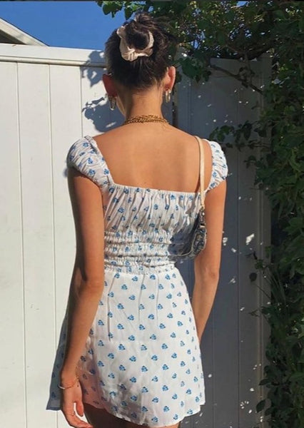 Square Collar Fashion Floral Print Sundress Elegant Sexy Backless Dresses Vestidos Holiday Summer Beachwear
