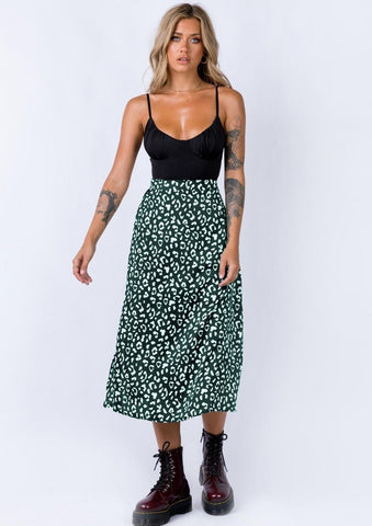 August Lemonade Cool Baby Leopard Print Midi Skirt
