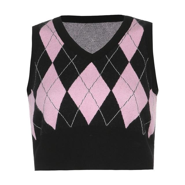 Preppy diamond knitted sweater vest