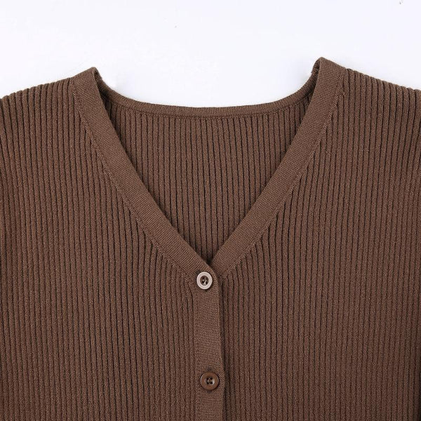 Shop for women's V-neck ribbed cardigan_KISSKIWI_cute