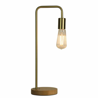 Lane Table Lamp in Brushed Brass with Timber Base