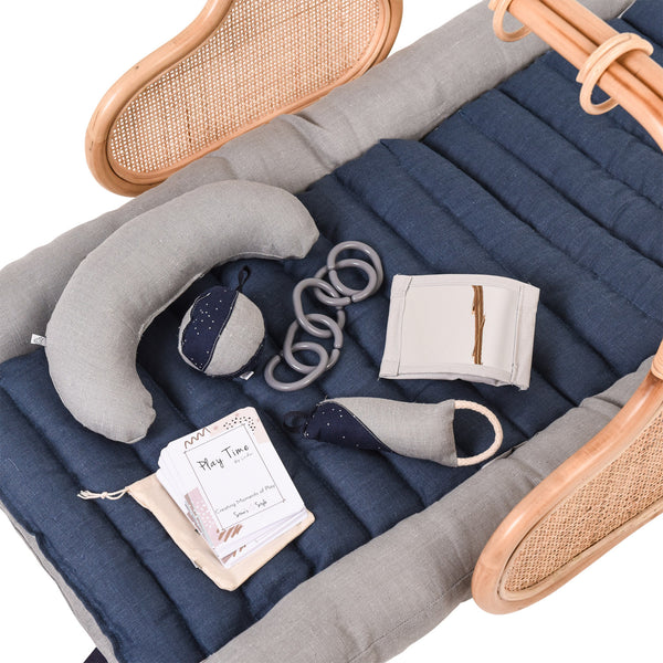 PRE ORDER APRIL: Rattan Play Gym Bundle - Grey/Smokey Blue