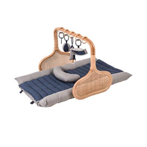 PRE ORDER for Christmas: Rattan Play Gym Bundle, early December- Grey/Smokey Blue