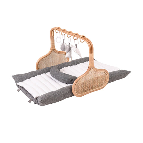 PRE ORDER for Christmas: Rattan Play Gym Bundle, early December- Charcoal/White