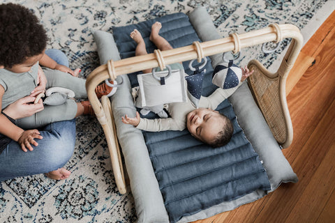 Rattan Play Gym Bundle - Grey/Teal