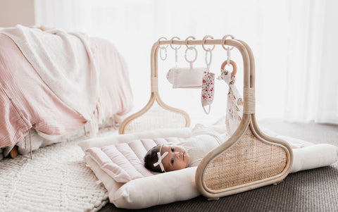 Rattan Play Gym Bundle - Vanilla/Blush