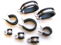 P-Clips, Stainless Steel, Rubber Lined
