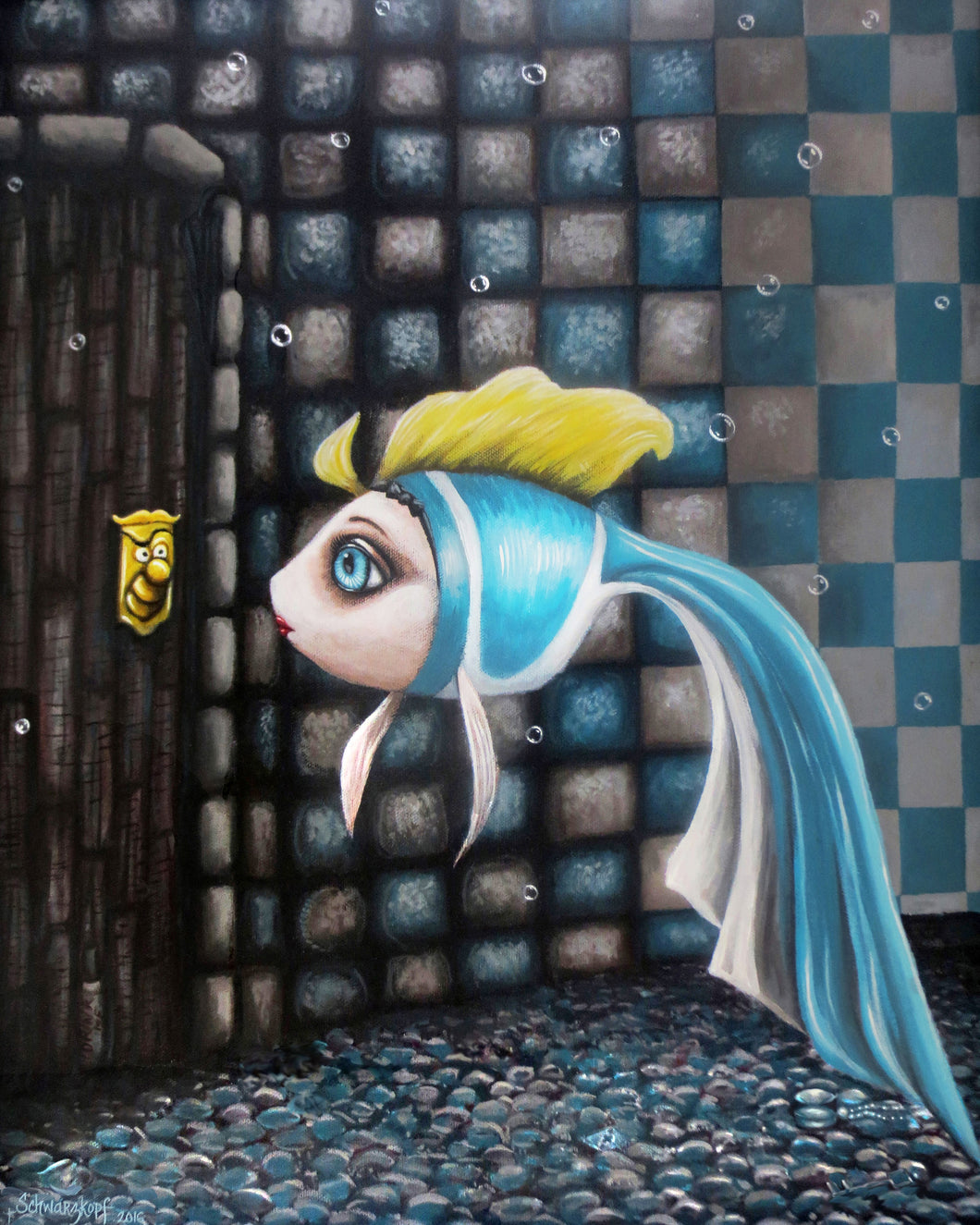 Alice in Waterland: Alice, Print on Wood