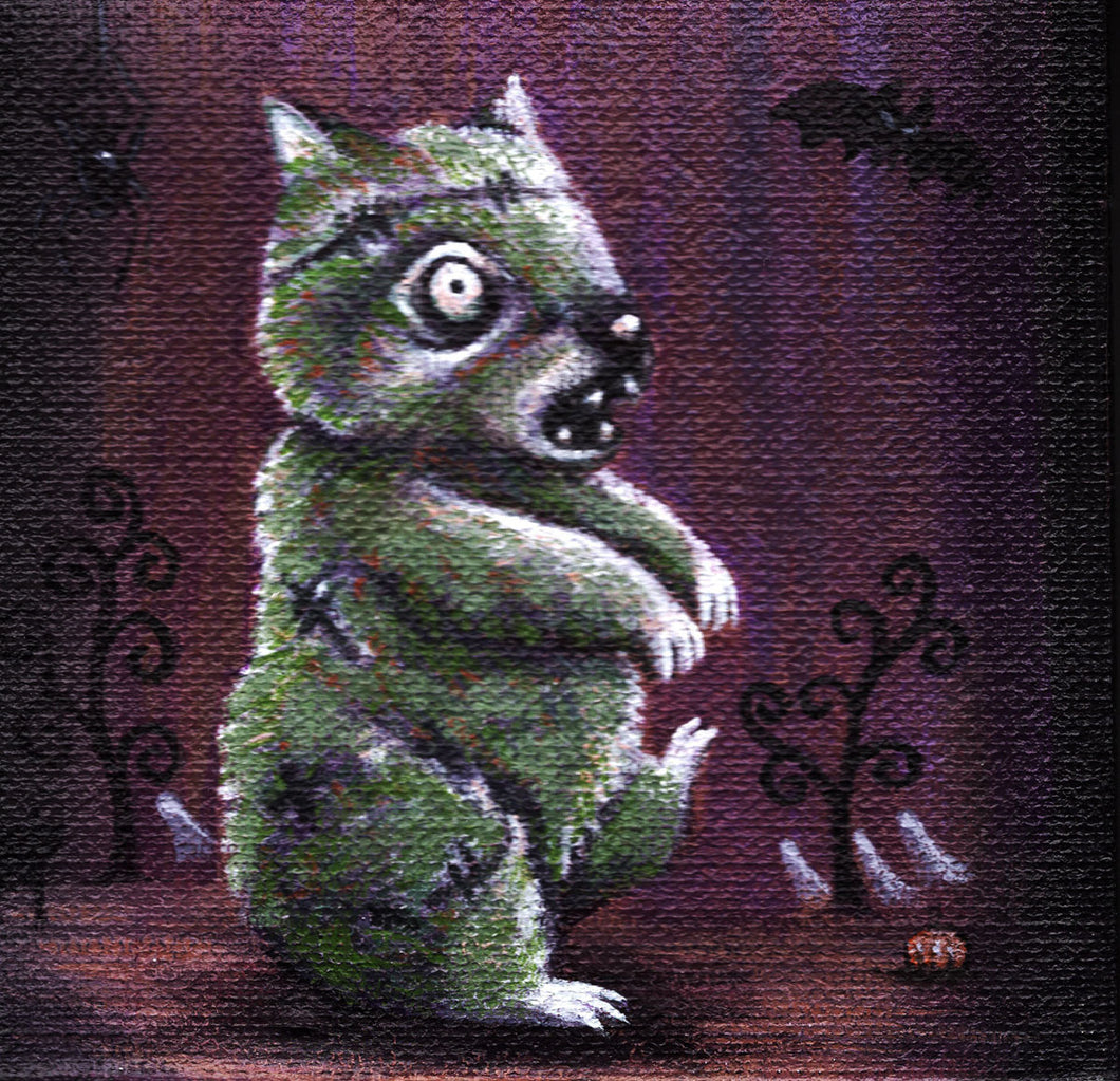 Fluffy Spooks: Zombat, Print on Wood