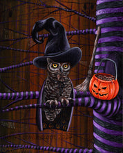Load image into Gallery viewer, Happy Owlaween, Original Painting on Wood