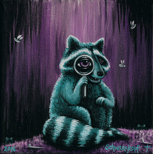 Through the Lens: Attuned Raccoon, Print on Wood