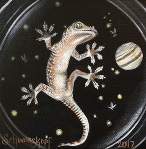 Through the Lens: Glassed Gecko, Print on Wood