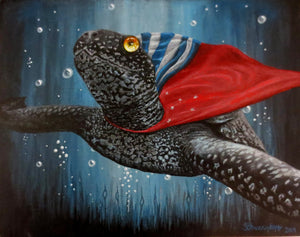 Wonder Turtle, Print on Wood