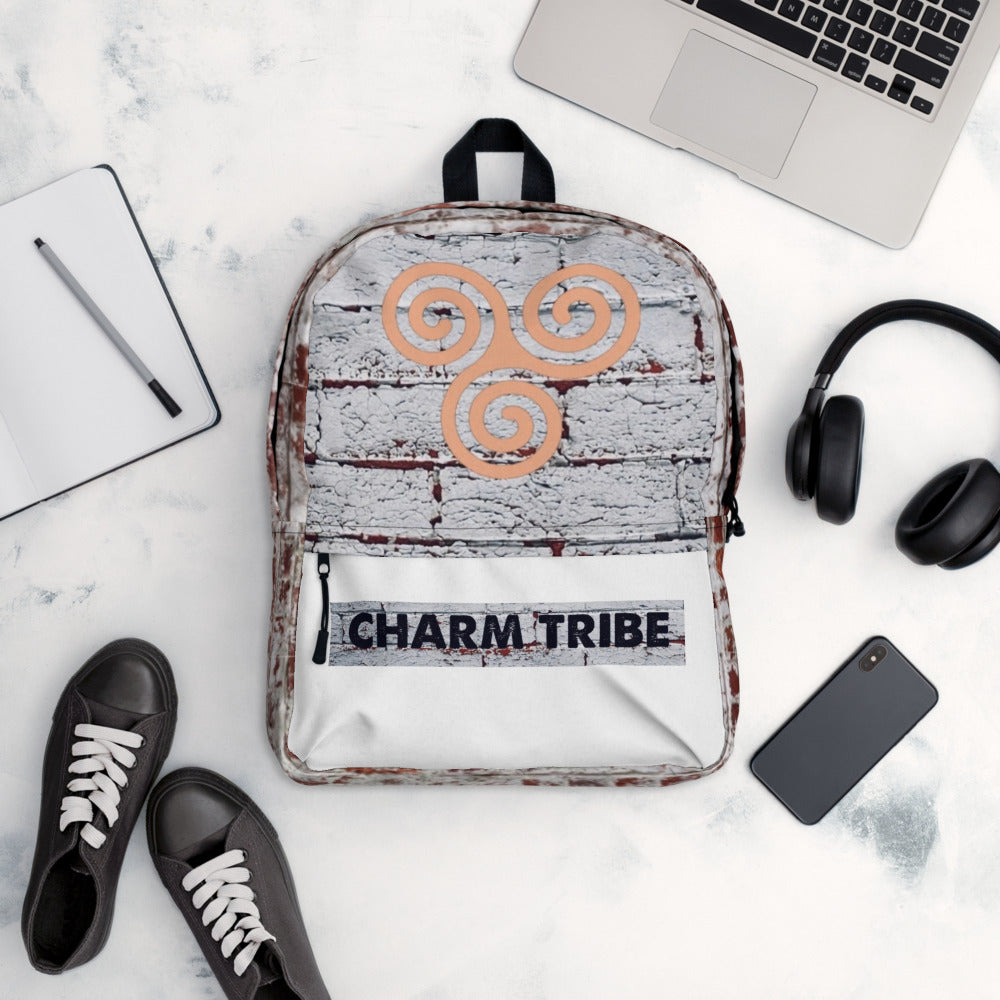 white/red Brick CHARM TRIBE Backpack