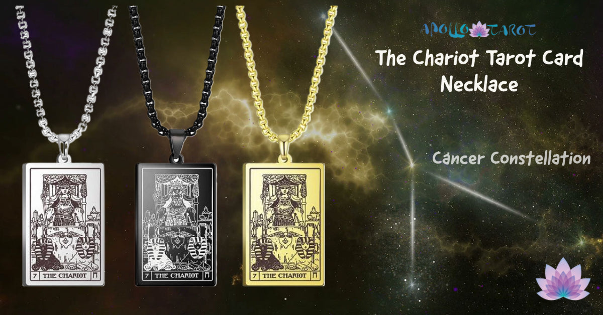 The Chariot Tarot Card Necklace With Cancer Constellation At Background | Apollo Tarot Shop