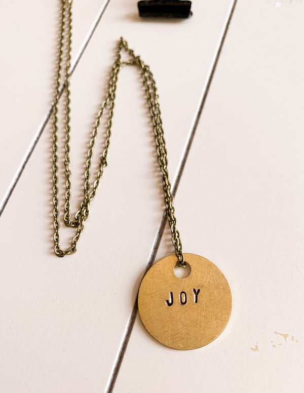Joy Hand-Stamped Necklace