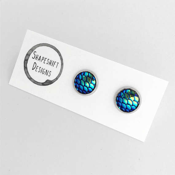 Sea Blue scaled mermaid earrings