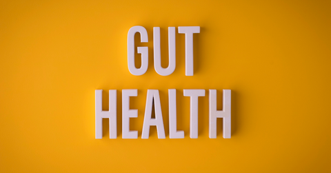 "orange background with words ""gut health"" in white letters"