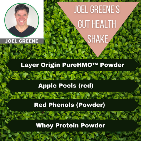 Graphic with photo of Joel Greene and ingredient list for health shake