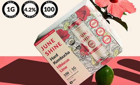 "package of ""June Shine"" hard kombucha with alcohol"