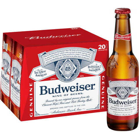 Case of Budweiser beer and bottle next to the case
