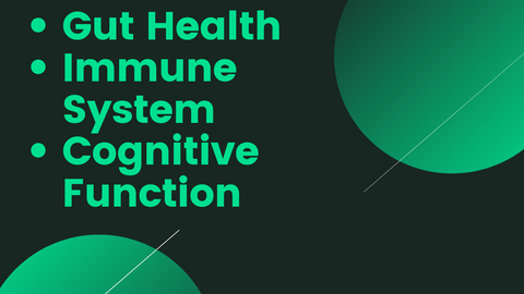 Black and green graphic listing HMO benefits for gut, immune and brain