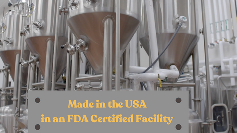 """Production factory with text """"Made in the USA in an FDA Certified Facility"""""""