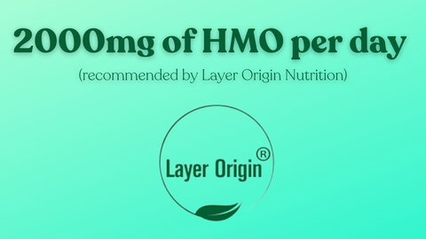 """Mint green background with text """"2000mg of HMO per day"""""""