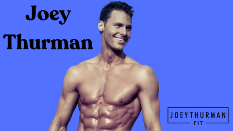 Joey Thurman without a shirt on in front of blue background