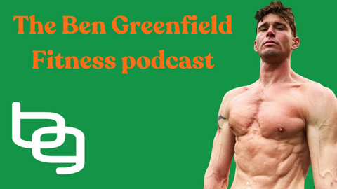 Ben Greenfield without a shirt one in front of green background