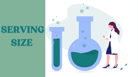 Graphic showing test tubes and a doctor with caption 'serving size'