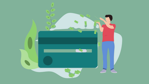 Graphic showing man throwing dollar bills over a credit card