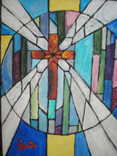 Load image into Gallery viewer, Stained Glass Painting of Cross